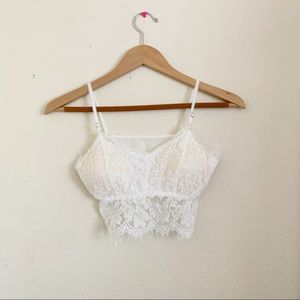 NWOT White Lace Padded Bralette XS